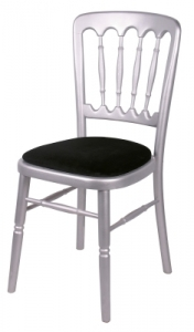 Silver Cheltenham Banquet Silver cheltenham banquet chair with black seat pad