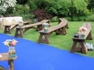Wooden benches - an outside event