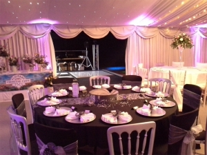Table & Chair hire - Chairs covered in luxurious dark material