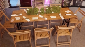 Trestle Table & Chair Hire - Wooden bench and wooden chairs