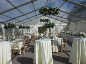 wedding marquee interior clear